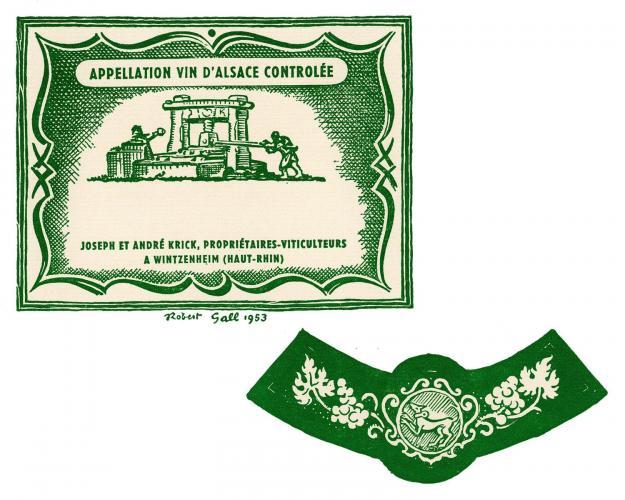 Étiquette historique du domaine Hubert Krick réalisée en 1953 par Robert Gall